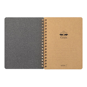 Midori Grain Spiral Ring B6 Notebook in Brown