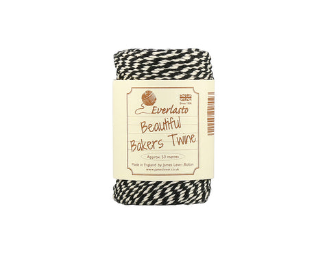 Black and White Baker's Twine - 50m Spool from Everlasto