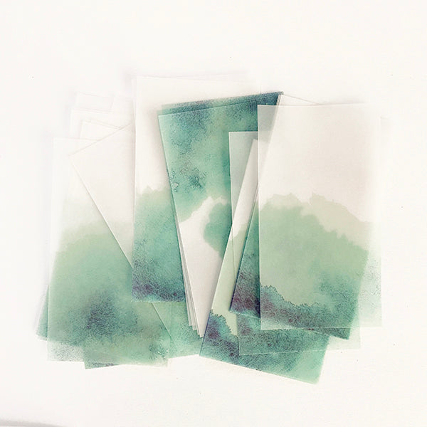 MU Print Dyed Look Tracing Papers - 25 sheets - Moss Stone Green