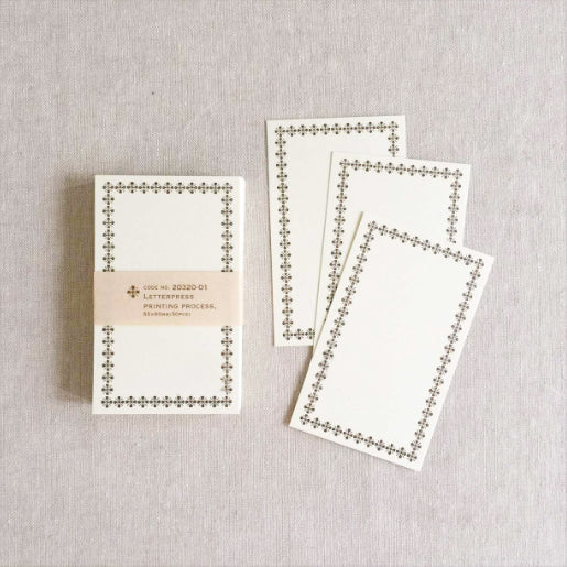 Classiky Blank Letterpress Note Cards - Brown Border