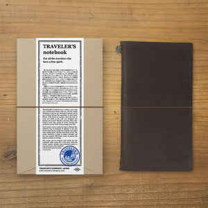 Traveler's Notebook Tea (Brown) - Regular Size - Leather Journal Notebook Kit