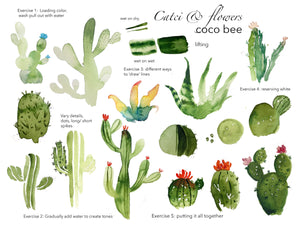 Watercolour Workshop: Cacti & Succulents - An Online Workshop with Coco Bee Art