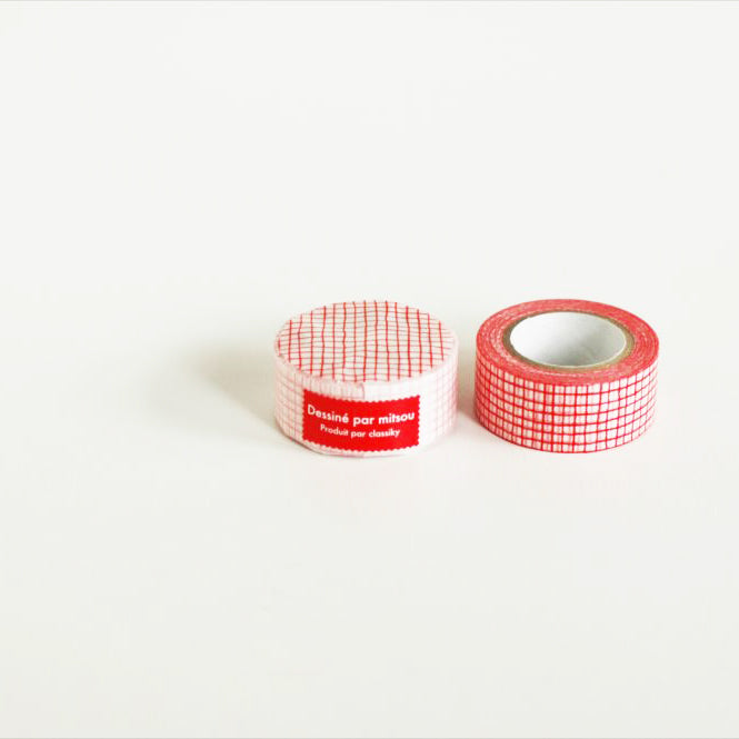 Classiky Mitsou Masking Tape Washi Tape - Red Grid