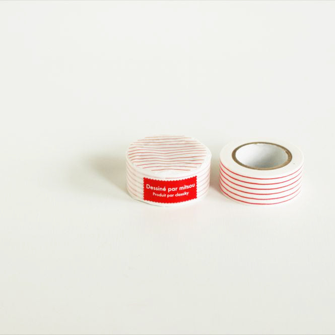Classiky Mitsou Masking Tape Washi Tape - Red Stripe