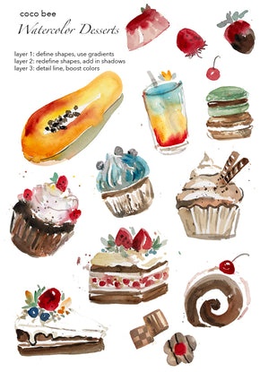 Watercolour Workshop: Desserts & Fruit - A Beginner Level Workshop with Coco Bee Art