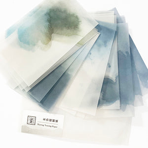 MU Print Dyed Look Tracing Papers - 25 sheets - Sea Fog Indigo Blue