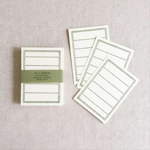 Classiky Blank Letterpress Note Cards - Green Border