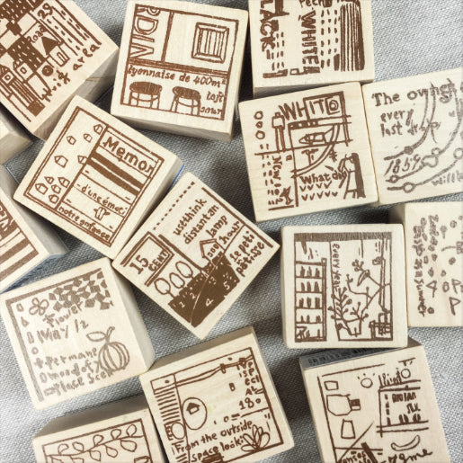Chamil Garden Wood Rubber Stamps - Hours Collection