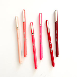 Marvy Uchida Le Pen Fineliner Marker Pen Fine Point - Pinks Reds