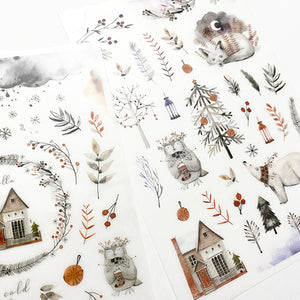 MU Print On Sticker Transfer - 154 - Silver White Christmas Season