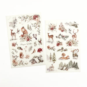 MU Print On Sticker Transfer - 153 - Silver White Christmas Season