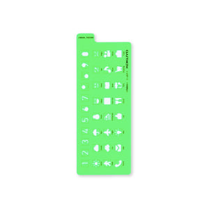 Pre Order: Kokuyo Jibun Techo Notebook Accessory Stencil Template - Icon (Green)