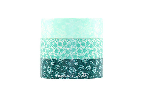 Maste Blue Floral Washi Tape Set
