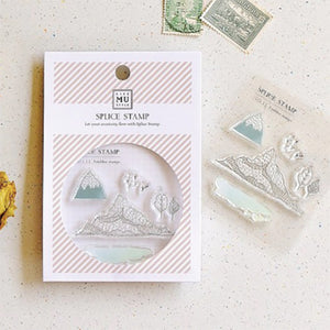 MU Print Stamp Set For Acrylic Blocks - No. 11 Mountain and Watercolor