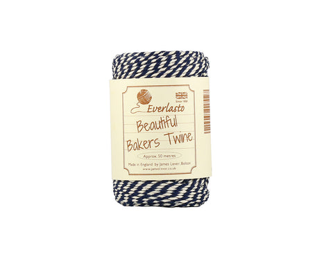 Navy and White Baker's Twine - 50m Spool from Everlasto