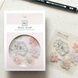 MU Print Stamp Set For Acrylic Blocks - No. 15 Flower Blossom Shaking Shadow