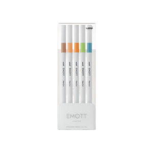 Uni EMOTT Ever Fine Fineliner Pen - 0.4mm - 5 Pen Set No. 6 Nature Color