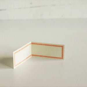 Classiky Blank Letterpress Folded Memo Note Cards - Orange Border