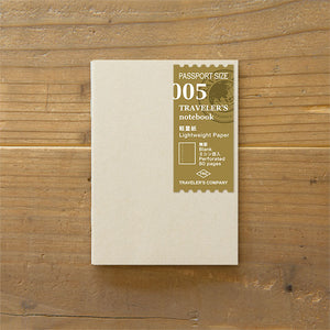 Traveler's Notebook Refill 005 - Passport Size - Lightweight Paper