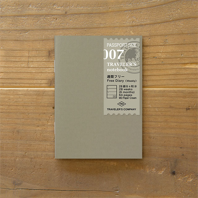 Traveler's Notebook Refill 007 - Passport Size - Free Diary Weekly