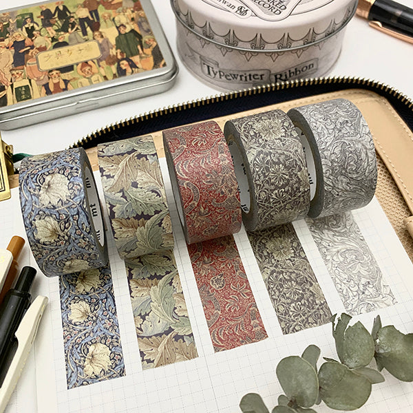 mt x Morris & Co. Washi Tape - Pure Honeysuckle and Tulip Black Ink MTWILL18Z