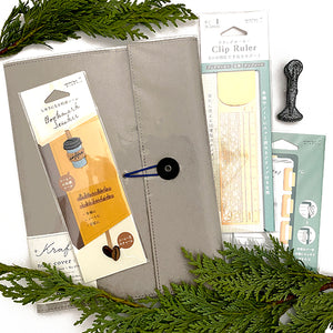 Notebook and Accessories Gift Set - SILVER Ruler and Index Tabs