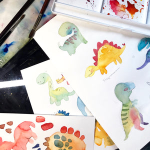 KIDS - Intro to Watercolour - Character Dino Painting!