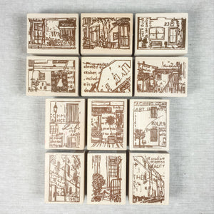 Chamil Garden Wood Rubber Stamps - Scene Collection