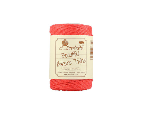 Solid Strawberry Pink/Red Baker's Twine - 50m Spool from Everlasto