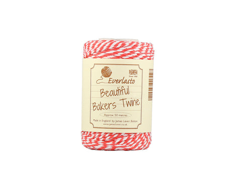 Strawberry and White Baker's Twine - 50m Spool from Everlasto