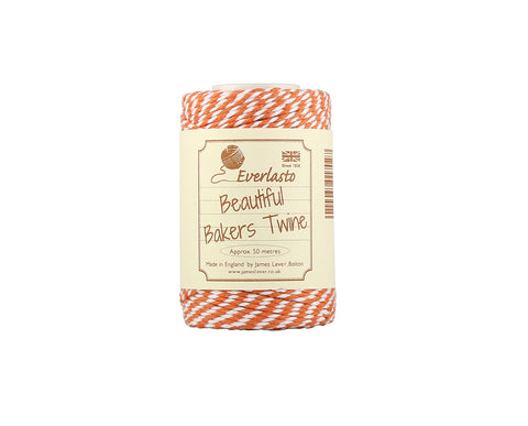 Tangerine Orange and White Baker's Twine - 50m Spool from Everlasto