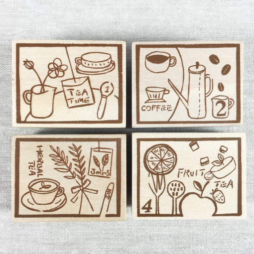 Chamil Garden Wood Rubber Stamps - Tea Collection