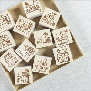 Chamil Garden Wood Rubber Stamps - Town Collection