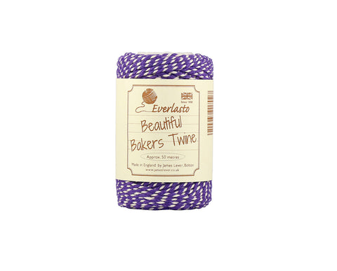 Violet Purple and White Baker's Twine - 50m Spool from Everlasto