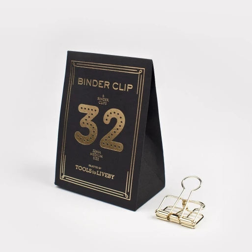 Tools to Liveby Binder Clips - Gold - 32mm