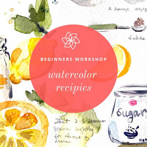 ONLINE Watercolor Workshop - Creating Recipe Cards With CocoBee Art
