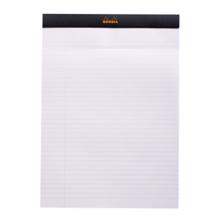 Rhodia Head Stapled Pad Black - A4 - Lined Notepad