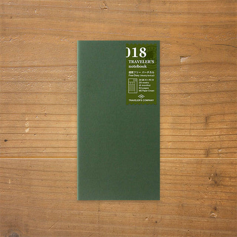 Midori Traveler's Notebook Regular Size 018 Free Weekly Vertical Refill