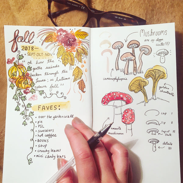 Mushrooms - And Other Fun Fall Elements: A Watercolour for Journalers Workshop