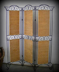 Beautiful 3 Panel Wrought Iron Wicker Room Divider Screen