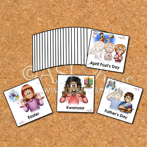 Calendar Cards: ASL-English Bilingual-Bicultural Common Celebrated Holiday and Observance (Group #1)