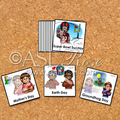 Calendar Cards: ASL-English Bilingual-Bicultural Common Celebrated Holiday and Observance (Group #2)