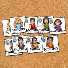 ASL-English Bilingual-Bicultural Days of the Week Cards