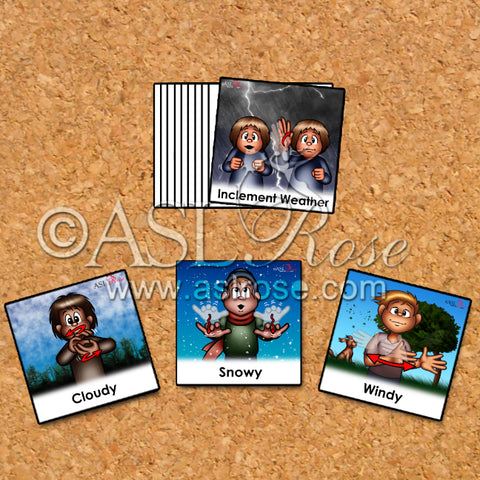 ASL-English Bilingual-Bicultural Weather-Related Change Cards