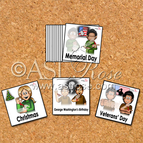 Calendar Cards: ASL-English Bilingual-Bicultural Federal Holiday