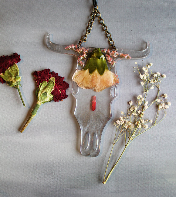 Floral Resin Cow Skull