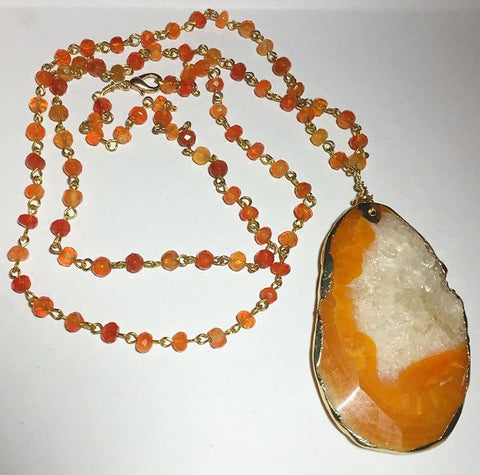 Amber Colored Agate Necklace