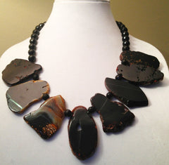 Black Chunky Agate and Onyx Necklace