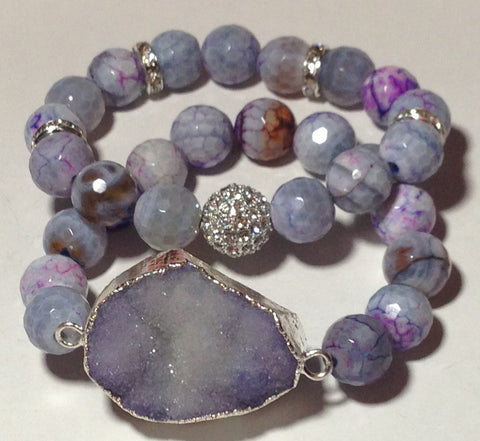 Lavender Agate and Druzy Bracelet Set
