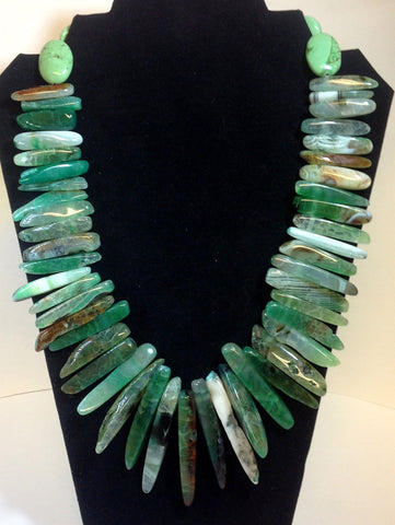 Green Agate Spike Necklace